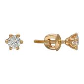 Серьги-пусеты с бриллиантами в шести держателях, красное золото
