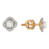 Серьги-пусеты с бриллиантами, красное золото