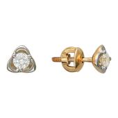 Серьги-пусеты с бриллиантами в лепестках, красное золото