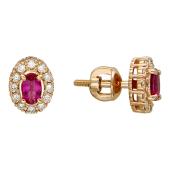 Серьги-пусеты Леди Ди с бриллиантами и овальным сапфиром (изумрудом, рубином), красное золото