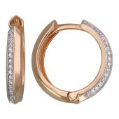 Серьги-кольца с дорожкой бриллиантов, красное золото