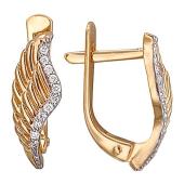 Серьги Крылья Ангела с бриллиантами, красное золото