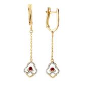 Серьги длинные с ажурной подвеской на цепи, бриллианты и рубины, красное золото