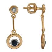 Серьги-пусеты длинные с круглой подвеской с бриллиантами и сапфирами, красное золото