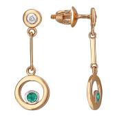 Серьги-пусеты длинные с круглой подвеской с бриллиантами и изумрудами, красное золото