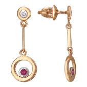 Серьги-пусеты длинные с круглой подвеской с бриллиантами и рубинами, красное золото