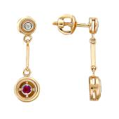 Серьги Вектор с бриллиантами и рубинами, красное золото