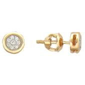 Серьги-пусеты с бриллиантами круглые, красное золото