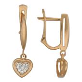 Серьги Сердечки с бриллиантами, красное золото