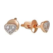 Серьги-пусеты с бриллиантами Сердечки из красного золота пробы 585