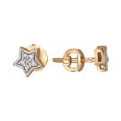 Серьги-пусеты Звезда с бриллиантами, красное золото
