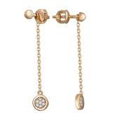 Серьги Викс с цепочкой и кружочком с бриллиантами, красное золото