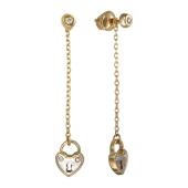 Серьги Викс с цепочкой и амбарным замком в виде сердца с бриллиантами, красное золото