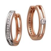 Серьги-кольца Конго с бриллиантами