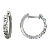 Серьги-кольца Дорожка с бриллиантами на спиралях, белое золото