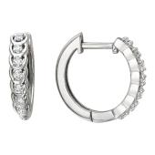 Серьги-кольца Дорожка с бриллиантами на петельках, белое золото