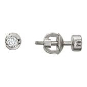 Серьги-пусеты с бриллиантами в круге, белое золото