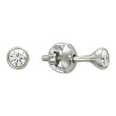 Серьги-пусеты с бриллиантами в круге, белое золото d=4мм