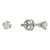 Серьги-пусеты с бриллиантами в восьми держателях, белое золото