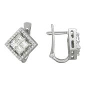 Серьги с бриллиантами Ромбы, белое золото проба 585