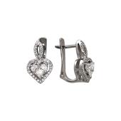 Серьги Сердце с бриллиантами, белое золото 585 пробы