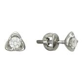 Серьги-пусеты с бриллиантом в трех лепестках, белое золото