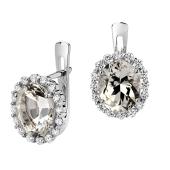 Серьги с бриллиантом и кварцем из белого золота 585 пробы