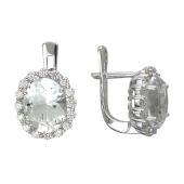 Серьги с бриллиантом и топазом из белого золота 585 пробы