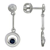 Серьги-пусеты с круглой подвеской с бриллиантами и сапфирами, белое золото