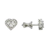 Серьги-пусеты Сердце с бриллиантами, белое золото