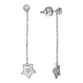 Серьги-пусеты Викс Звезда с бриллиантом, белое золото