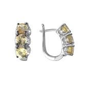 Серьги с бриллиантом и сапфиром из белого золота 585 пробы