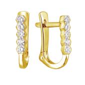 Серьги Дорожка с бриллиантами из желтого золота 585 пробы