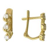 Серьги Волна с бриллиантами, желтое золото