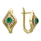 Серьги Ромбы с бриллиантами и рубином/сапфиром/изумрудом, желтое золото