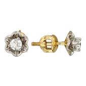 Серьги Роза с бриллиантами, желтое золото