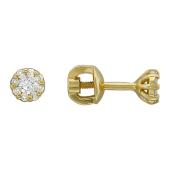 Серьги-пусеты Малинка с бриллиантами, желтое золото