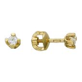 Серьги-пусеты с бриллиантами, желтое золото