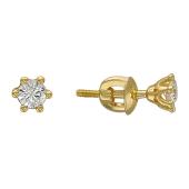 Серьги-пусеты с бриллиантом в шести круглых держателях, желтое золото
