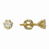 Серьги-пусеты с бриллиантами в держателях-сердечках, желтое золото