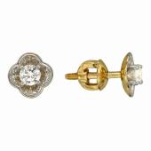 Серьги-пусеты Клевер с бриллиантами, желтое золото