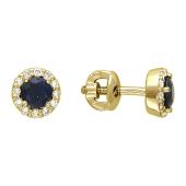 Серьги-пусеты с изумрудом и бриллиантами вокруг, желтое золото