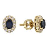 Серьги Леди Ди с бриллиантами и овальным изумрудом (сапфиром, рубином), желтое золото