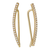 Серьги Каффы на все ухо с бриллиантами, желтое золото