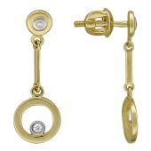 Серьги-пусеты с круглой подвеской, бриллианты, желтое золото