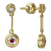 Серьги Вектор с бриллиантом и рубином, желтое золото