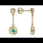 Серьги-пусеты с круглой подвеской, бриллианты и изумруды, желтое золото