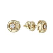 Серьги-пусеты круглые с бриллиантами, желтое золото