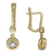 Серьги с бриллиантами в круге, желтое золото