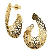 Серьги-пусеты Соблазн с бриллиантами, желтое золото